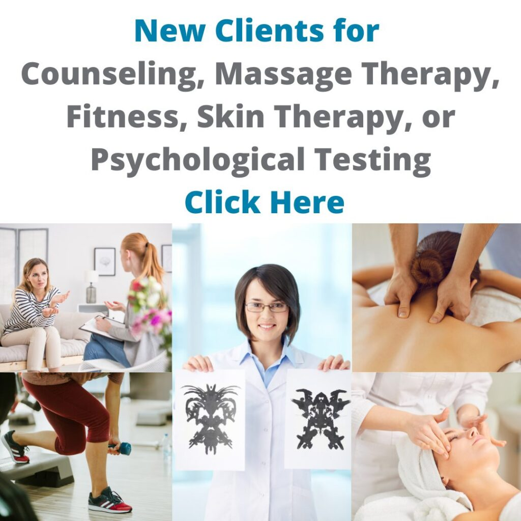Appointment Booking page for counseling, massage therapy, fitness, skin therapy, and psychological testing